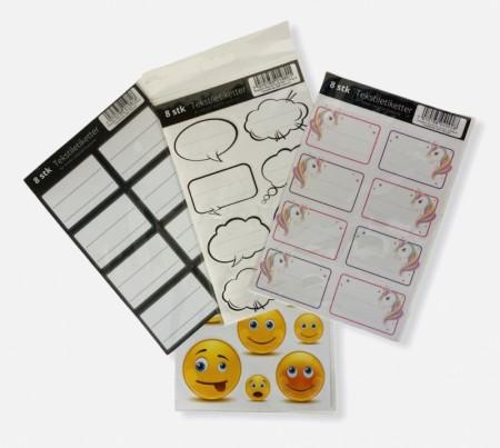 Tekstiletiketter (for elastiske bokbind)